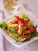 Prawn salad with limes and coriander