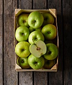 A crate of Granny Smith apples