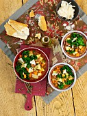 Vegetable soup with borlotti beans and green kale