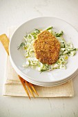 Minced lamb schnitzel with tzatziki