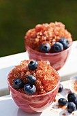 Blueberry granita with fresh blueberries in pink glasses