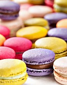 Lots of colourful macaroons