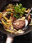 Glazed beef fillet with stir-fried vegetables
