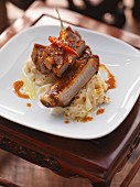 Cantonese spare ribs on chilli cream cabbage
