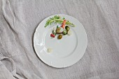 Mixed pickles on a white porcelain plate