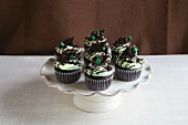Chocolate cupcakes decorated with mint cream