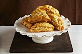 Lemon and ginger scones on a cake stand