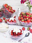 Fresh strawberries with whipped cream