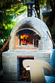 A rustic pizza oven outside