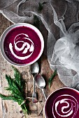 Beetroot soup with sour cream and fresh dill