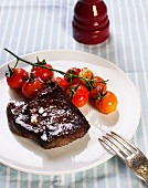 Beefsteak with cherry tomatoes
