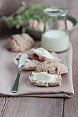 Cranberry bread spread with cream cheese
