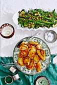 Roast potatoes -zucchini and asparagus salad
