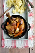 Roast chicken legs with potato salad