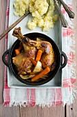 Roast chicken legs with potato salad