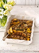 Sausages with potatoes for Easter