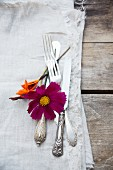 Silver cutlery, flowers and linen napkin on wooden table