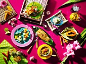 Various Carribean dishes