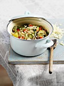 Baked vegetable risotto with grated cheese