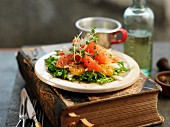 Salmon salad with grapefruit and cress