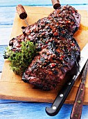 Marinated and grilled leg of lamb