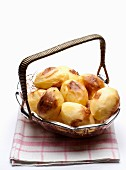 Baked potatoes in a basket