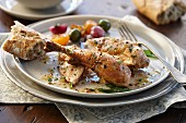 Roast chicken with vegetables and baguette