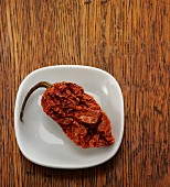 A dried naga jolokia chilli pepper