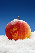 A red apple on a pile of coconut flakes with an image of Father Christmas carved into it