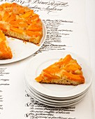 An apricot tart on a menu (France)