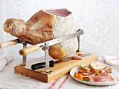 A ham on a stand