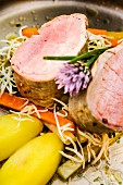 Styrian Mangalitsa pork fillet with root vegetables