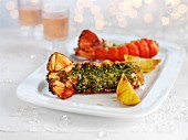 Lobster tails with herb butter for Christmas