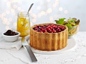 Cranberry pie with a side salad for Christmas