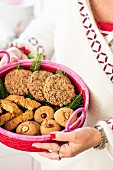 Ginger shortbread, hazelnut biscuits and chocolate biscuits with goji berries