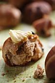 A raisin bun with butter