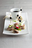 Herring canapes with a dip