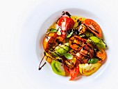 Heirloom tomato salad with basil and balsamic dressing