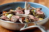 Lamb chops with oven-roasted vegetables