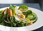 Caesar salad with anchovies, egg, Parmesan and crutons