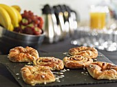 Danish pastries on a breakfast buffet