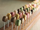 Lots of macaroons on sticks