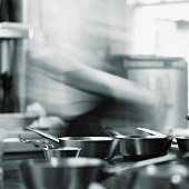 A chef in a restaurant kitchen