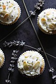 Cupcakes with slivered almonds and dried lavender flowers
