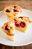 A raspberry muffin, halved