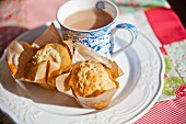 Choc-chip muffins with a cup of tea
