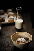 Semlor (Swedish cakes) served in a bowl