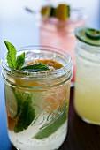 Lemonade garnished with mint and orange slices