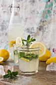 Lemon and mint cocktails with ingredients
