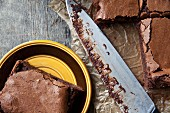 Salted chocolate brownies (close-up)